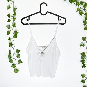 BRANDY MELVILLE Bethany White Ribbed Lace Up Tank